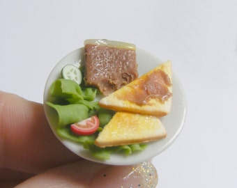 SALE Food Jewelry Pate and Toast Ring, Miniature Food, Mini food Jewelry, Handmade Jewelry Food Jeweller, Food Ring Dolls House Food, Kawaii