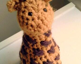 Giraffe Crochet Stuffed Toy Yarn Yellow Brown Spots