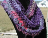 Changing Textures Scarf/Pinks and Purples Scarf/Salmon, Fuchsia, Plum, Violet, Pewter Gray Scarf