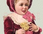 "Digital Download ""Girl in Red Velvet"" Antique Die Cut Victorian Scrap Graphic Image"