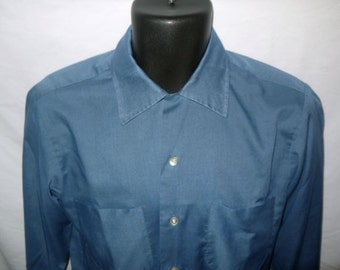 Vintage 60s loop top shirt / button up down / mad men rockabilly / blue long sleeve camp / 1960s Donegal  14 38 Small S smV
