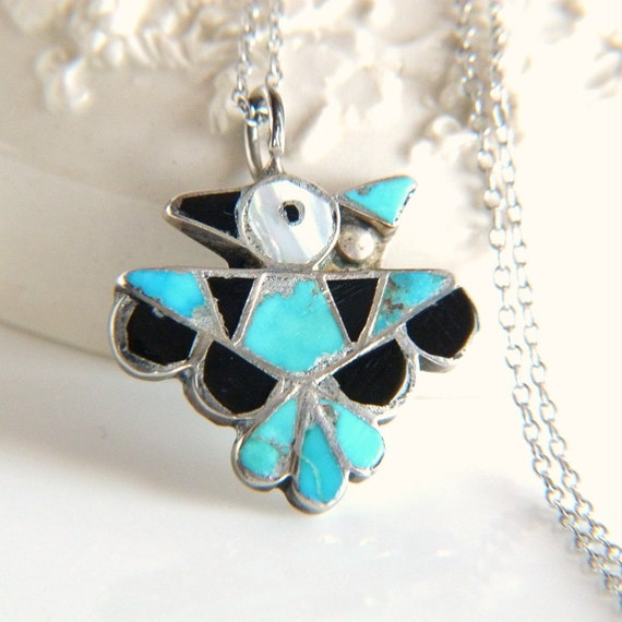Sterling Silver Southwest Thunderbird Pendant Necklace with Turquoise, Onyx and Abalone
