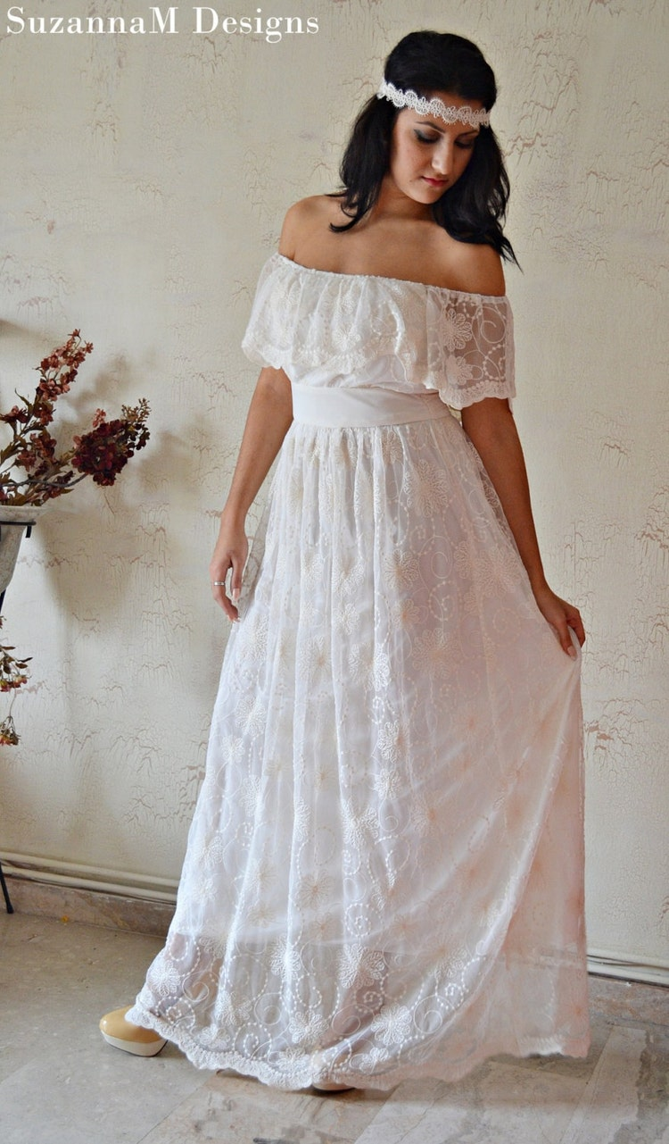 Alternative wedding dress ivory lace gown boho by Wedding dress alternatives
