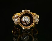 Sensational diamond memento mori rare Victorian ring