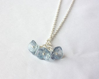 SALE - Blue Bell Flower Pendant Necklace on Silver Chain, Simple, Elegant Jewelry