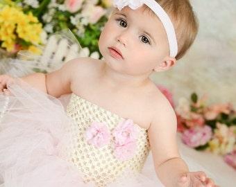 Ivory and Light Pink Flower Girl Birthday Tutu Dress