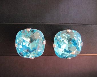 Light Turquoise Swarovski Studs/ Bridesmaid Earrings/Turquoise Crystal Studs/Square Crystal Earrings/Swarovski Turquoise Studs
