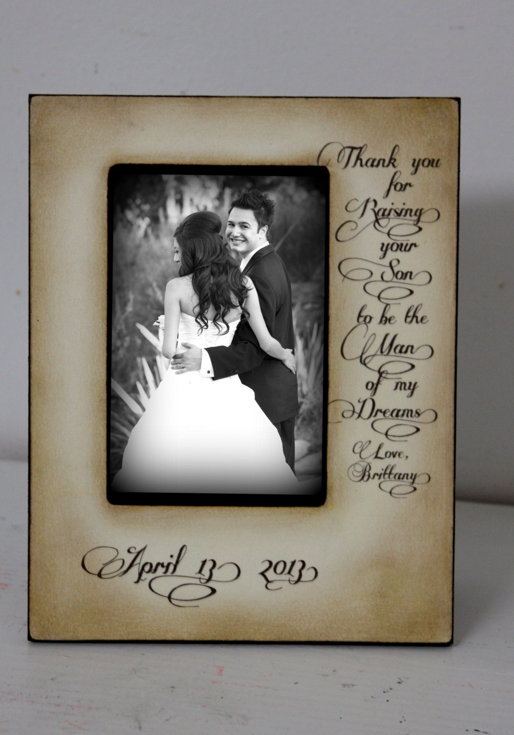 wedding sign picture frame thank you for raising your son to
