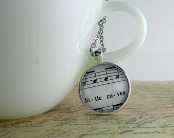 Little Raven Music Note Necklace in Silver
