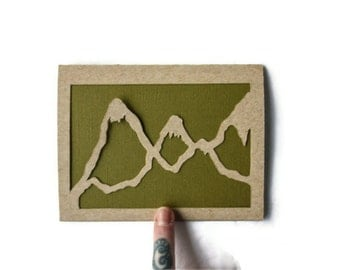 Laser Cut Blank Card: MOUNTAIN EDGING, Minimalist Contour