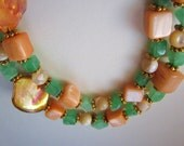 Green Malaysia Jade and Natural Mother of Pearl and Sea Shell 2 Strand Necklace