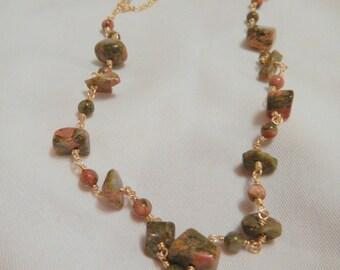 Green Jasper Necklace, Gold Necklace, Unakite Necklace