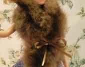 Brown Mink Shawl for Fashion Dolls