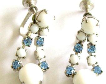 Vintage Earrings Milk Glass & Blue Rhinestones Screw Back Dangle