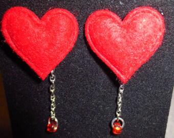 HeartDrop - Mini Felt Heart Post Earrings