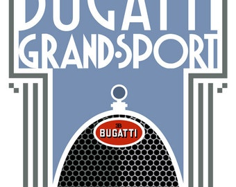 Art Deco Bugatti Grand Sport poster print
