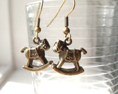 Rocking horse earrings in antiqued gold