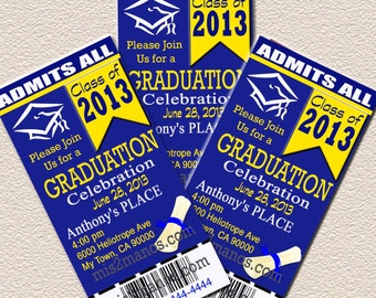 Graduation Ticket Invites Your School Colors diy Print at Home Invitation or announcement Culmination Graduation 2015