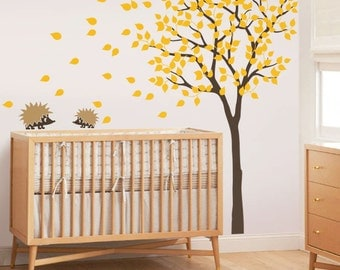 "Baby Nursery Wall Decals - Tree Wall Decal - Tree Decal - Hedgehog Decal - Large: approx 79"" x 85"" - KC004"