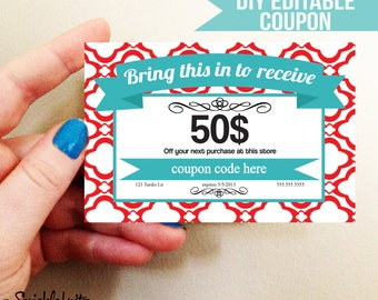 DIY Printable Coupon- Red and Turquoise 4'x6- Digital Download FREE Delivery via email