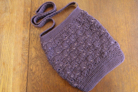 Crochet Crossbody Bag Purse Mauve Purple Shell Stitch Lined Pockets Zipper Closure
