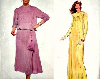 Misses Modest Dress Maxi Dress Evening Dress Vogue 1994 American Designer Scott Barrie Size 12
