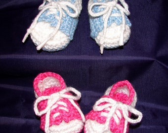 Crochet Boy or Girl baby infant tennis shoes