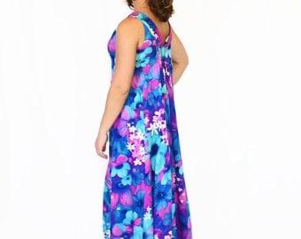60s Hawaiian Dress. Maxi Dress in Blue Turquoise Purple Orchid. Summer Dress. Floral Print. Beach Dress. Mad Men Dress. Tropical Dress Small
