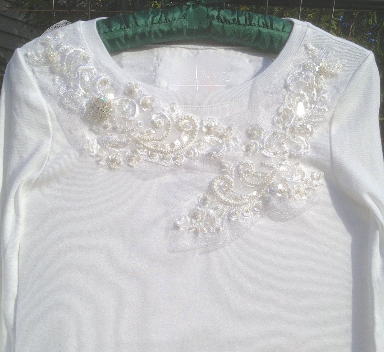 White Long Sleeve T Shirt With Bridal Lace Wedding T Shirt