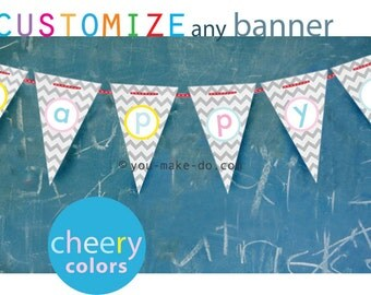 INSTANT DOWNLOAD custom party banner, custom party printables, baby shower banner, birthday banner, birthday, party printable, pastel party