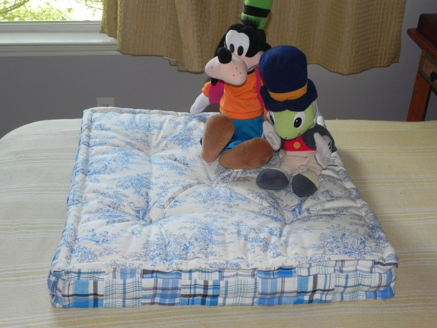 Toile Hand Tufted Floor Pillow Pet Bed Blue and by FloatingThimble