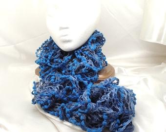 Blue Velvet Lace Ruffled Scarf