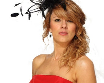 Black  Satin  Feather Fascinator Hat - wedding, ladies day - choose any colour feathers & satin