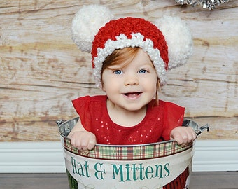 Christmas Baby Santa Hat Baby Hat 9 to 12 Month Baby Girl Hat Baby Boy Pom Pom Hat Peppermint Candy Cane Red White Christmas Photo Prop Fun