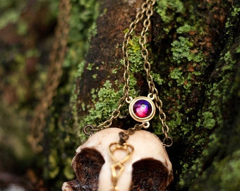 Animal-friendly GuardianOwl owl skull necklace pendant with Swarovski Crystal Mortiis.M