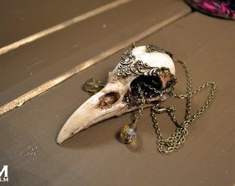Animal-friendly WarriorCrow crow skull necklace pendant with Champagne crystal by Mortiis.M