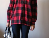 BUFFALO PLAID Red and Black FLANNEL Shirt Button Up