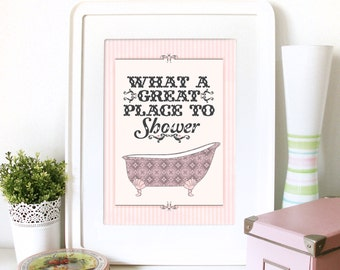 Popular items for vintage bathroom on etsy for Poster pour salle de bain