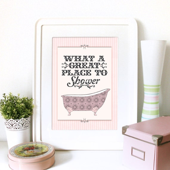 Vintage pink art poster print for bathroom with typography and - Stampe per bagno ...