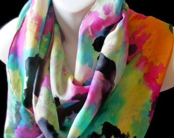 "Cosmic Colors/ SILK SCARF.  Hand Painted Silk Scarf by New York City  artist Joan Reese / 100% Silk/14""x72"""