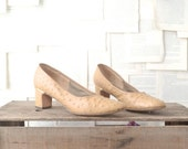 1960s Ostrich Leather  Pumps / Size 8 Narrow