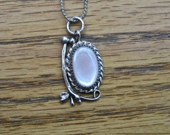 Vintage Southwest Sterling Silver and Pink Mother of Pearl Necklace