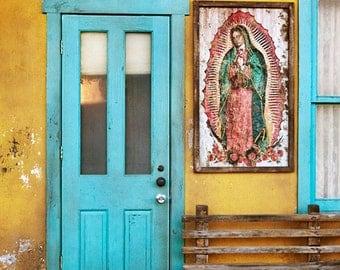 Blue door, color fine art photograph, New Mexico