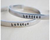 Aluminum Cuff Bracelet - Hand Stamped Bracelet - Besties Bracelets - ID Bracelet - Best Friends - Customized - Personalized Jewelry