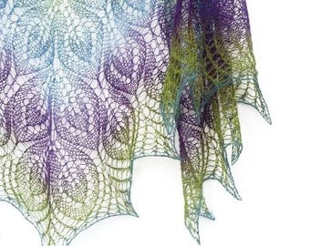 Peacock hand knit  lace shawl - purple, blue, green spring