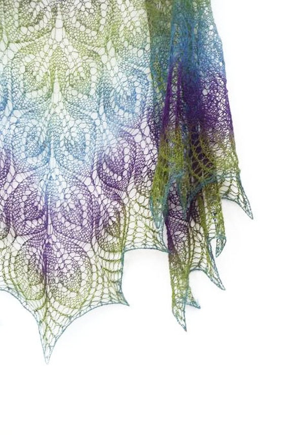 Peacock hand knit lace shawl purple blue green spring