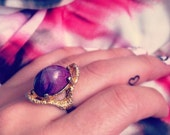 Vintage cocktail big claw gold ring purple stone adjustable size ysl