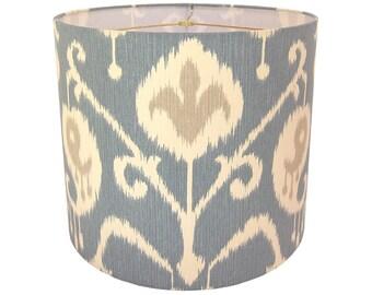 Lamp Shade Ikat Lampshade Magnolia Home Fashions Java Ikat Yacht Blue Made to Order