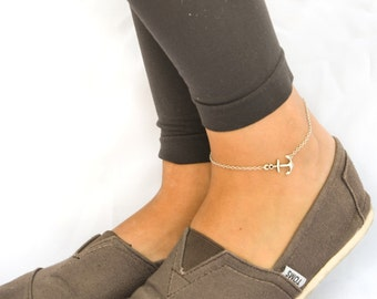 Anchor anklet, dainty silver chain anklet with silver anchor charm, ankle bracelet, gift for her, nautical jewelry, minimalist beach anklet