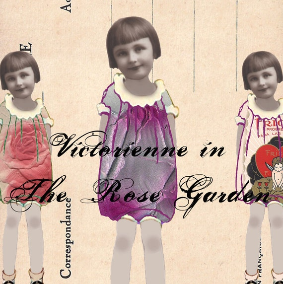 Digital Paper Dolls - Victorienne in The Rose Garden
